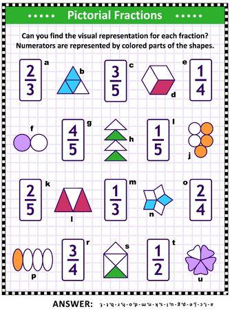 Acertijo matemático educativo: Relacione cada fracción con su representación visual o pictórica adecuada. Respuesta incluida. Ilustración de vector