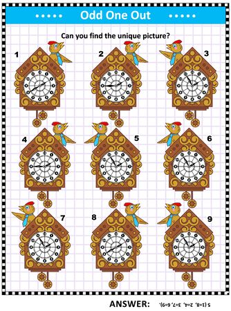 IQ training visual puzzle for kids and adults with retro wall clocks: Can you find the picture that has no copy? Answer included.