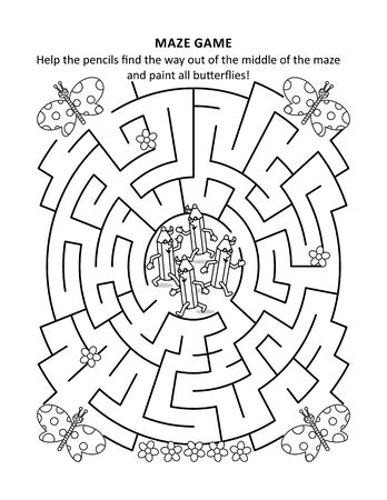 Maze game and coloring page for kids: Help the pencils find the way out of the middle of the maze and paint all butterflies!