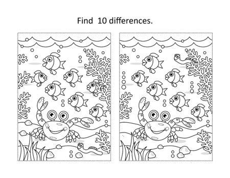 Find ten differences activity page with underwater life scene Vektorgrafik