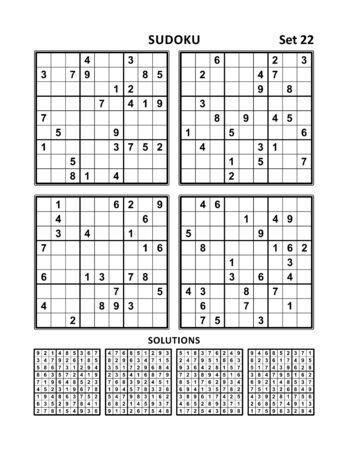 Four sudoku puzzles of medium level, answers included. Set 22.