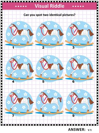 Visual puzzle with rocking horse: Can you spot two identical pictures? Answer included.