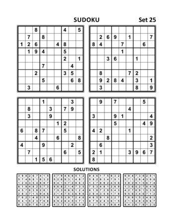 Four sudoku puzzles of medium level, answers included. Set 25.