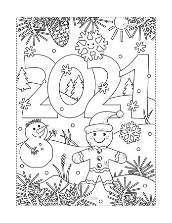 Coloring page with year 2021 sign, gingerbread man, snowman and winter scene. Suitable both for kids and adults.