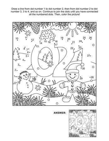 Year 2021 connect the dots puzzle and coloring page, activity sheet for kids. Answer included.
