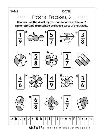 Educational math puzzle. Pictorial representation of fractions, reperesented by various shapes, recognition worksheet. Answers included.