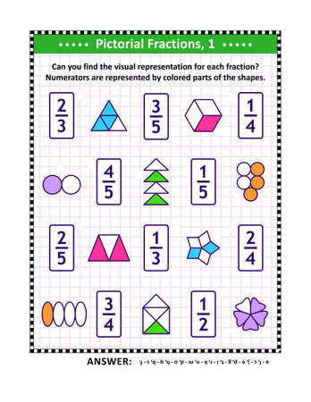 Educational math puzzle. Pictorial, or visual, representation of fractions by various shapes with colored numerator. Answers included. 矢量图像
