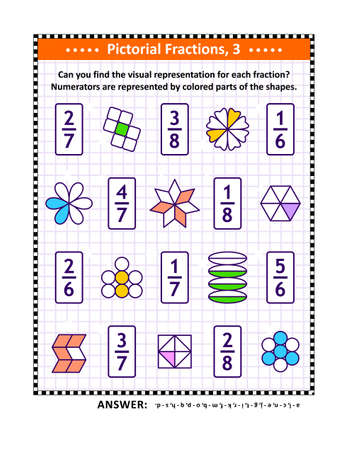 Educational math puzzle. Pictorial, or visual, representation of fractions by various shapes with colored numerator. Answers included.