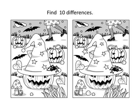 Halloween find 10 differences visual puzzle and coloring page with little witch chasing her hat, pumpkins, bats, spider