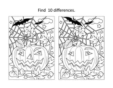 Find 10 differences visual puzzle and coloring page with Halloween pumpkin, bats, spiderweb