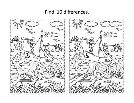Find 10 differences visual puzzle and coloring page with brave ants the sailors yachting