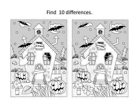 Find 10 differences visual puzzle and coloring page with Halloween haunfed house