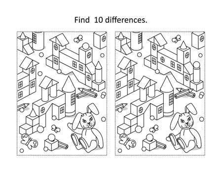 Find 10 differences visual puzzle and coloring page with building blocks toy town and retro stuffed toy hare