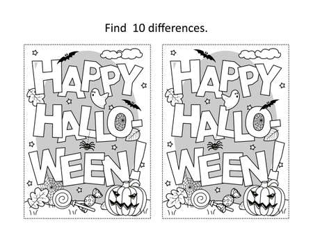 "Find 10 differences visual puzzle and coloring page with ""Happy Halloween!"" greeting"