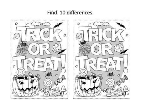 "Find 10 differences visual puzzle and coloring page with Halloween ""Trick or treat!"" text"
