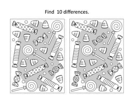Find 10 differences visual puzzle and coloring page with Halloween candy