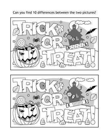 "Find 10 differences visual puzzle and coloring page with Halloween ""Trick or treat!"" text, pumpkin bag, candy, haunted house, bat and spider"
