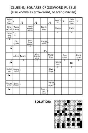 Clues-in-squares crossword puzzle, or arrow word puzzle, else arrowword, scandinavian, or scanword, skanword. General knowledge, non-themed, family friendly. Solution included. Ilustración de vector