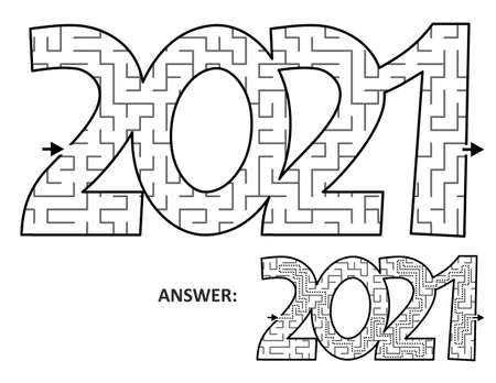 Year 2021 maze game or labyrinth clipart. Answer included.