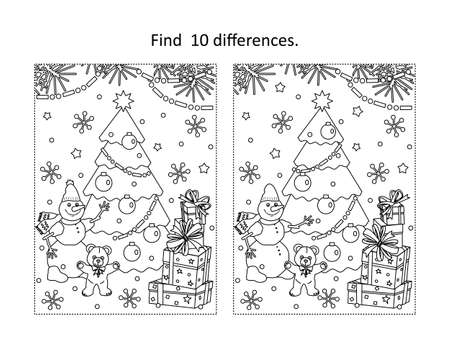 Winter holidays, New Year or Christmas themed find the ten differences picture puzzle and coloring page with christmas tree, tedyy bear, snowman, gift boxes