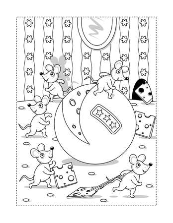 Happy mice team have a great nice day with big yummy sheese coloring page