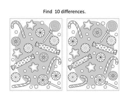 Find 10 differences visual puzzle and coloring page with winter holidays, New Year or Christmas candy and cookies