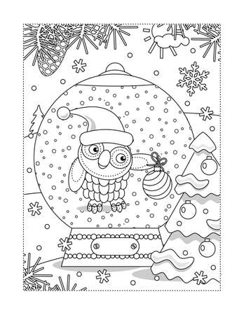 Snowglobe with cute owl and christmas tree coloring page, poster, sign or banner black and white activity sheet