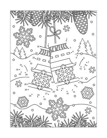 Santa's lost mittens connect the dots puzzle and coloring page. Full page activity sheet for kids. Learning or reinforcing math basics of numbers and order.