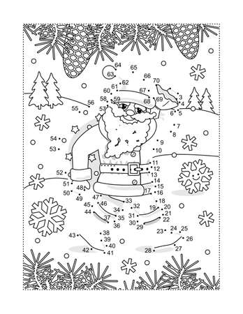 Santa delivering presents full page connect the dots puzzle and coloring page