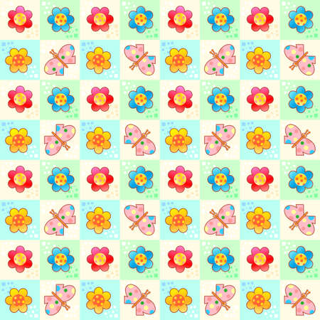 Butterflies and flowers checked spring background, wallpaper or print, seamless or repeat pattern Standard-Bild - 161763912