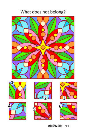 Visual puzzle with picture fragments. Abstract floral geometric design pattern. What does not belong?
