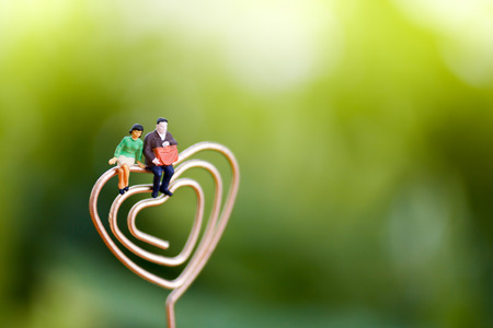 Miniature People Couple Lover sitting on heart.