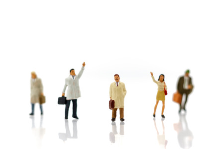 Miniature people: Business Person Candidate People Group. Employer of choice, candidate selection, adn  business recruitment concept.
