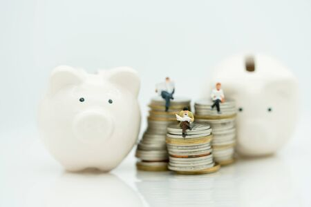 Miniature people: Business team reading book on coins with pig, education or business concept.