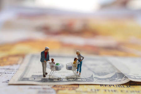 Miniatrue people: Shoppers with shopping cart standing on the  money. and world map. Shopping  and business concept.