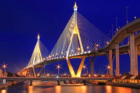 bhumibol: Bhumibol Bridge,Samut Prakan,Thailand  Editorial