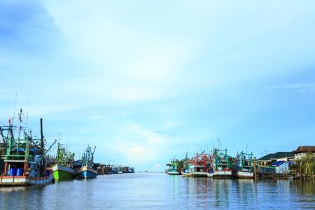fishing boat and fisherman village in Phetchaburi province,Thailand photo