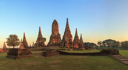 Panorama view of the ancient remains in Ayutthaya,Thailand photo