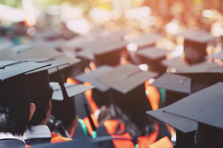 shot of graduation hats during commencement success graduates of the university, Concept education congratulation Student young ,Congratulated the graduates in University. Stock fotó