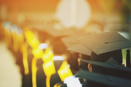 Group of Graduates during commencement. Concept education congratulation in University. Graduation Ceremony ,Congratulated the graduates in University during commencement. 스톡 콘텐츠