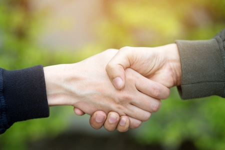Closeup of a business hand shake between two colleagues on parks.