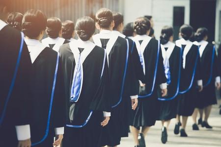 Crowd graduation hats during commencement success graduates of the university, Concept education congratulation. Graduation Ceremony ,Congratulated the graduates in University during commencemen Stock fotó