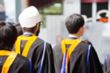 backside female graduation hats during commencement success graduates of the university, Concept education congratulation. Graduation Ceremony ,Congratulated the graduates in University.
