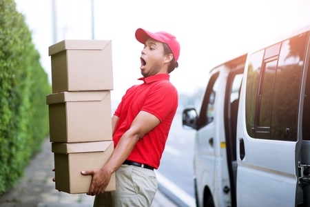 Even sending a lot of parcels is no problem. Hand delivery and Professional delivery service.Impressive service. Stock Photo