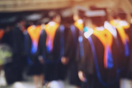 backside graduation hats during commencement success graduates of the university, Concept education congratulation. Graduation Ceremony ,Congratulated the graduates in University during commencement. Stock fotó