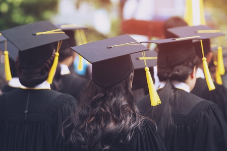 Group of Graduates during commencement. Concept education congratulation in University. Graduation Ceremony ,Congratulated the graduates in University during commencement. Stock fotó