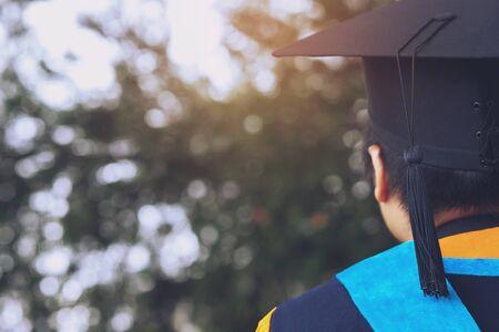 shot of graduation hats during commencement success graduates of the university, Concept education congratulation. Graduation Ceremony, Congratulated the graduates in University.