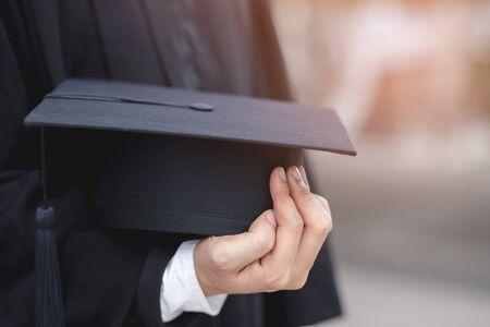 shot of graduation hats during commencement success graduates of the university, Concept education congratulation. Graduation Ceremony, Congratulated the graduates in University