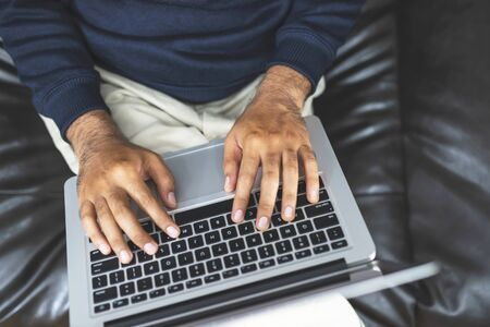 Work at home, men are contacting to buy-sell customers online.