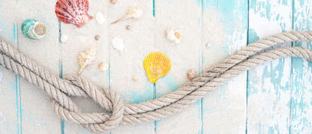 Summer time concept with sea shells and starfish on a blue wooden background